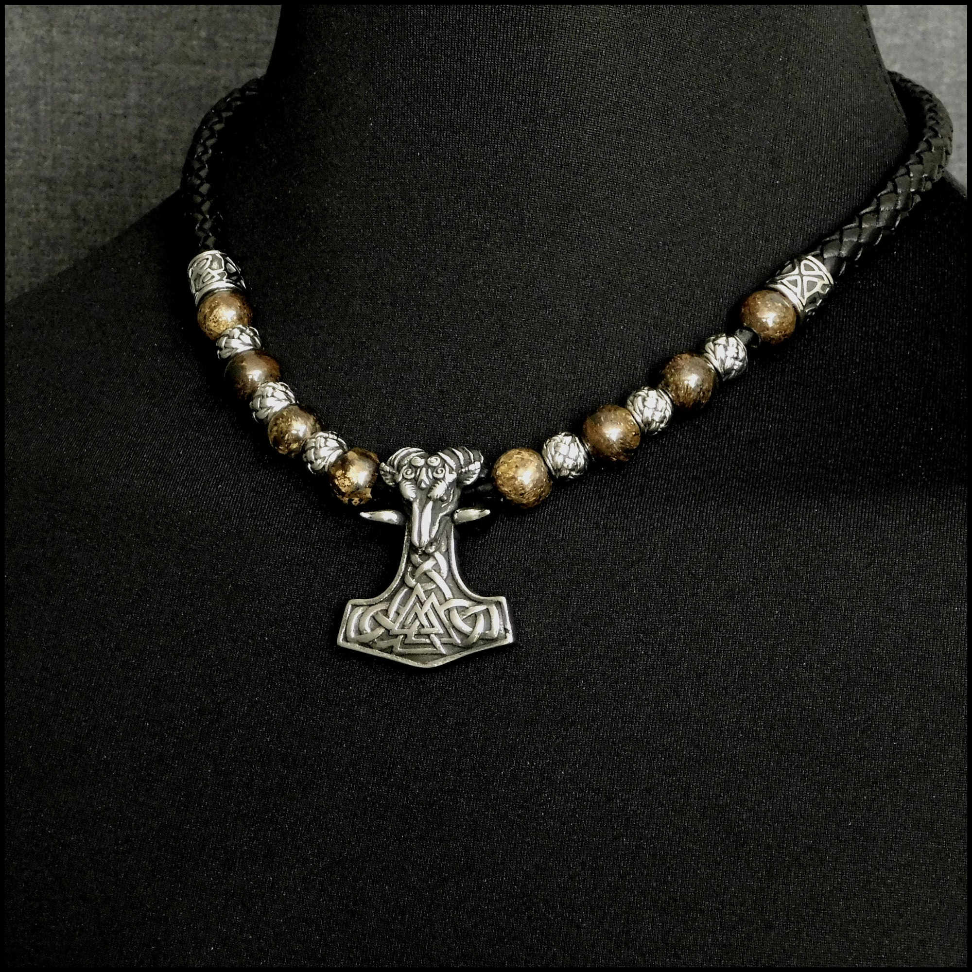 Beautifully Detailed Ram Mjolnir W/Viking Valknut Symbol on Leather Necklace w/Stone & Steel Beads