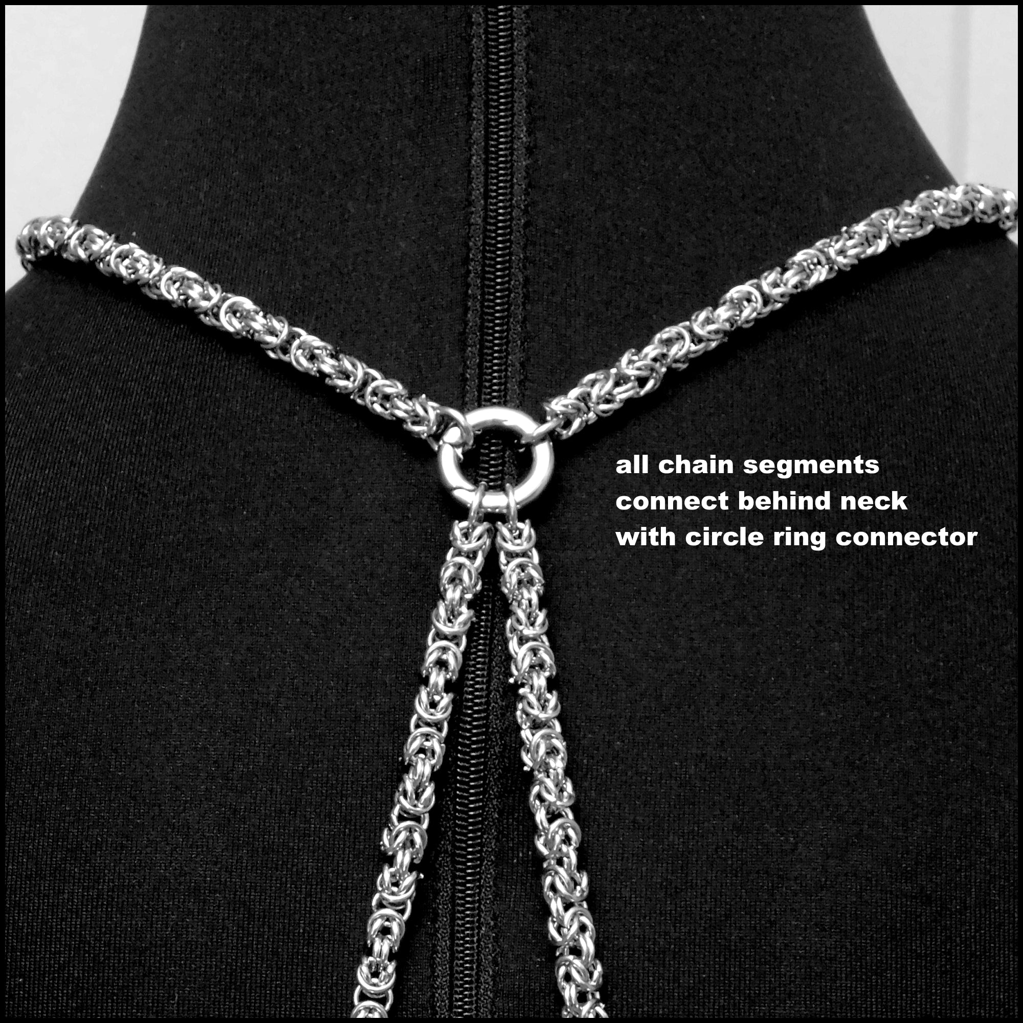 Bold Chainmaille Body Chain With Genuine Peace Silver Dollar Center Connector