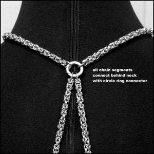 Bold Chainmaille Body Chain With Morgan Silver Dollar Center Connector