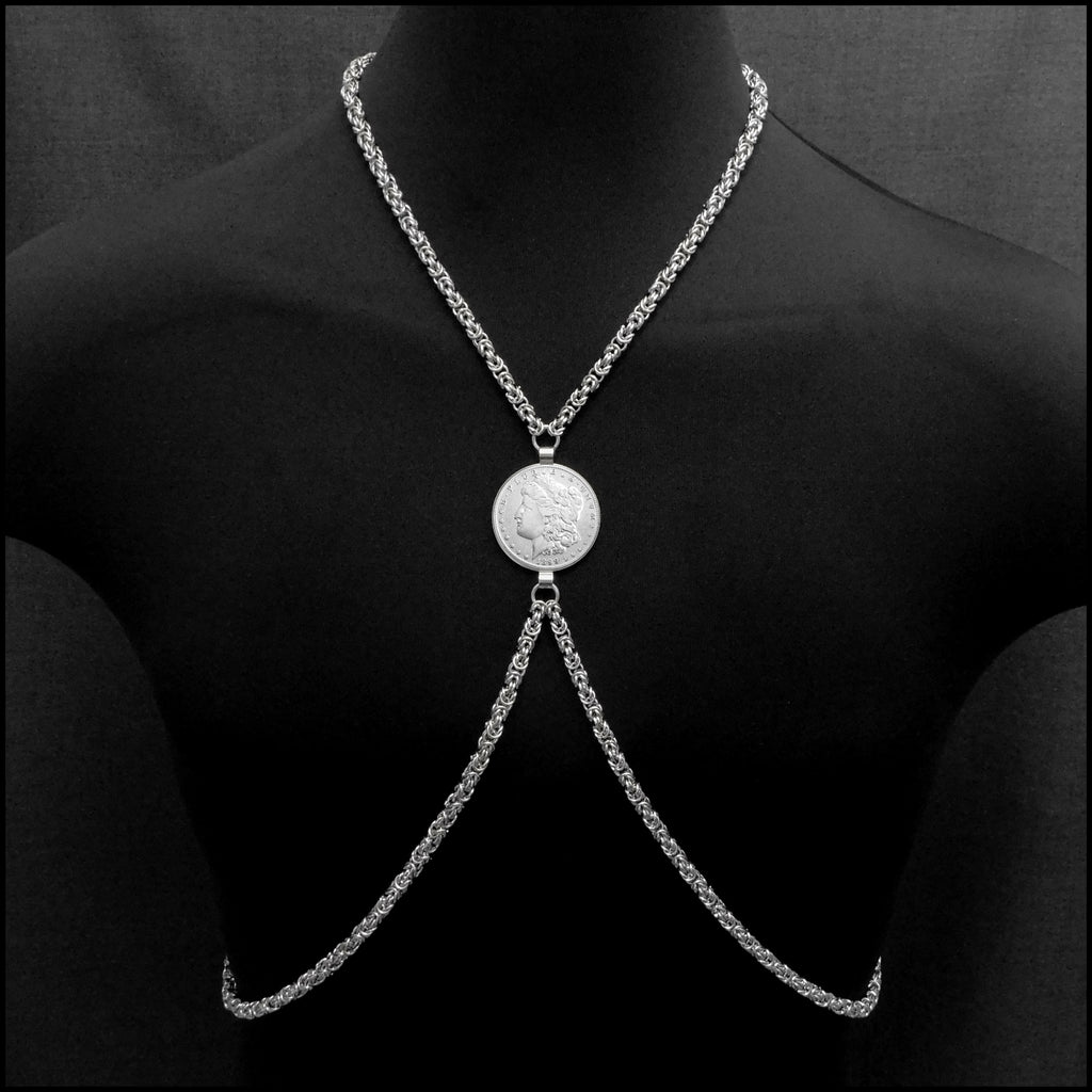 Bold Chainmaille Body Chain with Precision Shaped and Formed Chainmaille With Genuine Morgan Silver Dollar Center Connector