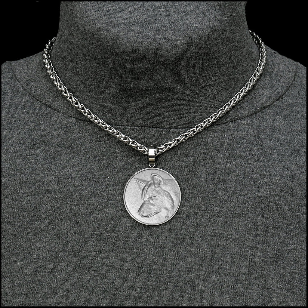 Spirit Wolf Coin in Stainless Steel Setting on Thick Luxurious Polished Stainless Steel Wheat Chain