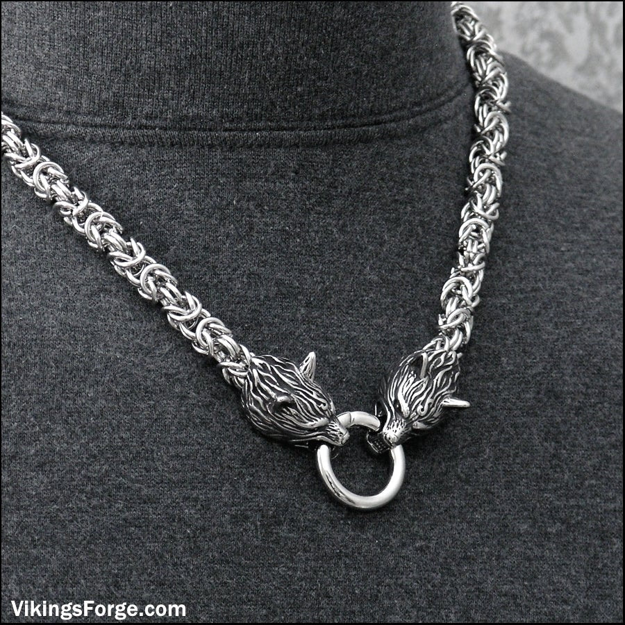 Viking Royalty Thick 9mm Chainmaille Multipurpose Necklace with Snarling Wolf Head Ends