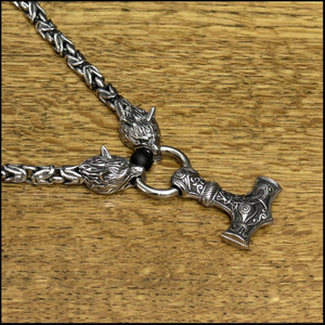 Superior Quality Snarling Head Wolf Head 9mm Borobudur Chain Necklace with Large Sculptured Mjolnir