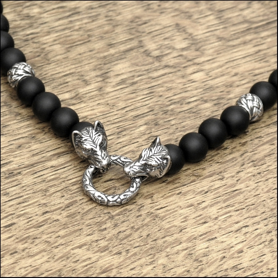 Guardian Wolves Necklace with Matte Black Onyx and Weave Design Accent Beads