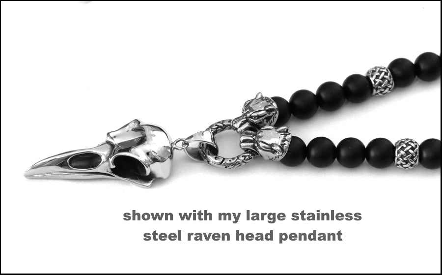 Guardian Jaguars with Matte Black Onyx and Weave Design Accent Beads