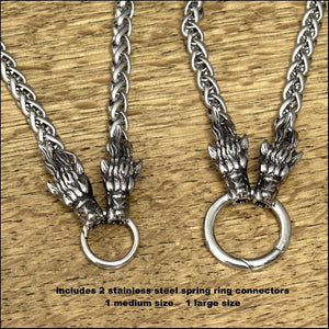 Guardian Wolves Viking Braid Chain Necklace Collar with Norse Mythology Fenrir Wolf Head Design