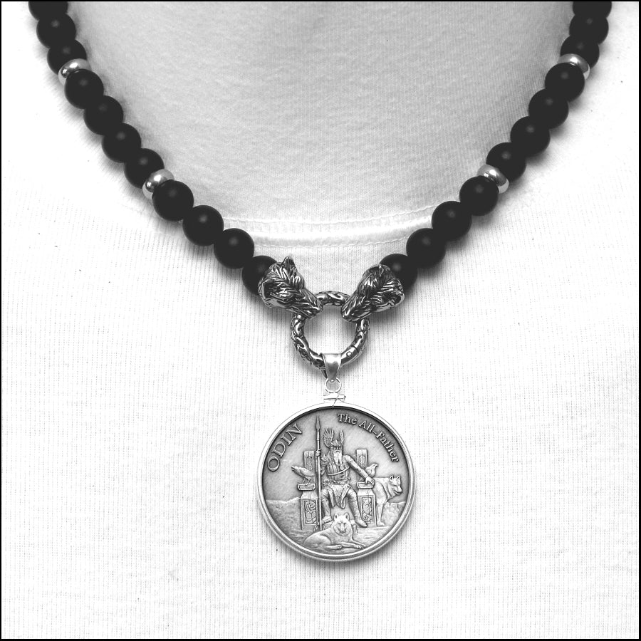 Limited Edition Odin the All-Father Norse Mythology Silver Coin Pendant on Luxurious Wolf Head Ends Necklace with Matte Black Onyx Beads