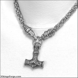Thick Chainmaille Necklace with Nordic Bear Head Ends with Large Beautifully Sculptured Mjolnir Hammer