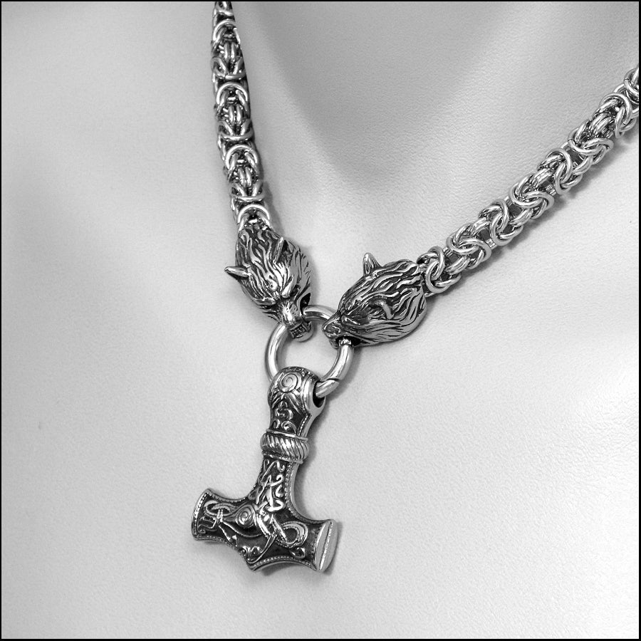Viking Royalty Thick 9mm Chainmaille Necklace with Snarling Wolf Head Ends and Large Mjolnir