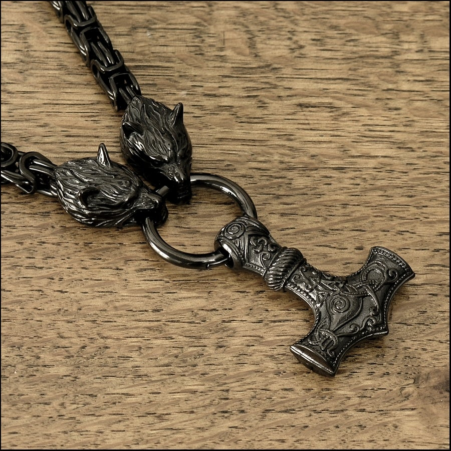 Black Viking Edition Byzantine Design Chain Necklace with Snarling Wolf Head Ends and Large Mjolnir