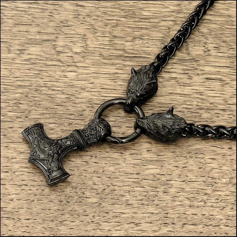 Black Viking Edition Viking Braid Design Chain Necklace w/Snarling Wolf Head Ends and Large Mjolnir