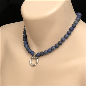 Discreet Beaded Day Collar Multipurpose Beaded Necklace with Matte Lapis Lazuli Beads and 2 Different Spring Ring Connectors