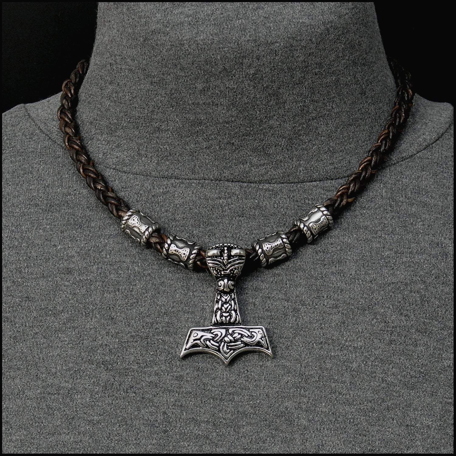 Large Beast Head Mjolnir on Viking Braid Leather Necklace With Mjolnir Design Beads