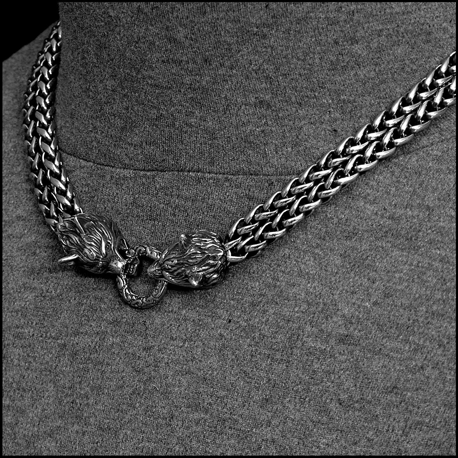Double Strand Antique Viking Braid Chain Necklace with Snarling Wolf Head Ends