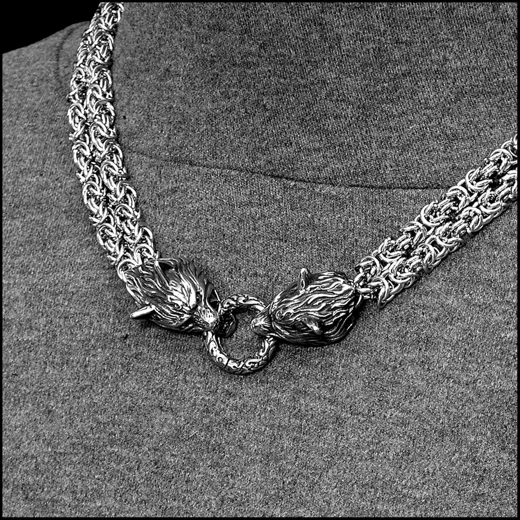Double Strand Chainmaille Necklace with Snarling Wolf Head Ends