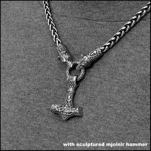 Wolf Warrior Necklace Featuring Antique Viking Braid Chain w/Beautifully Sculptured Mjolnir Hammer