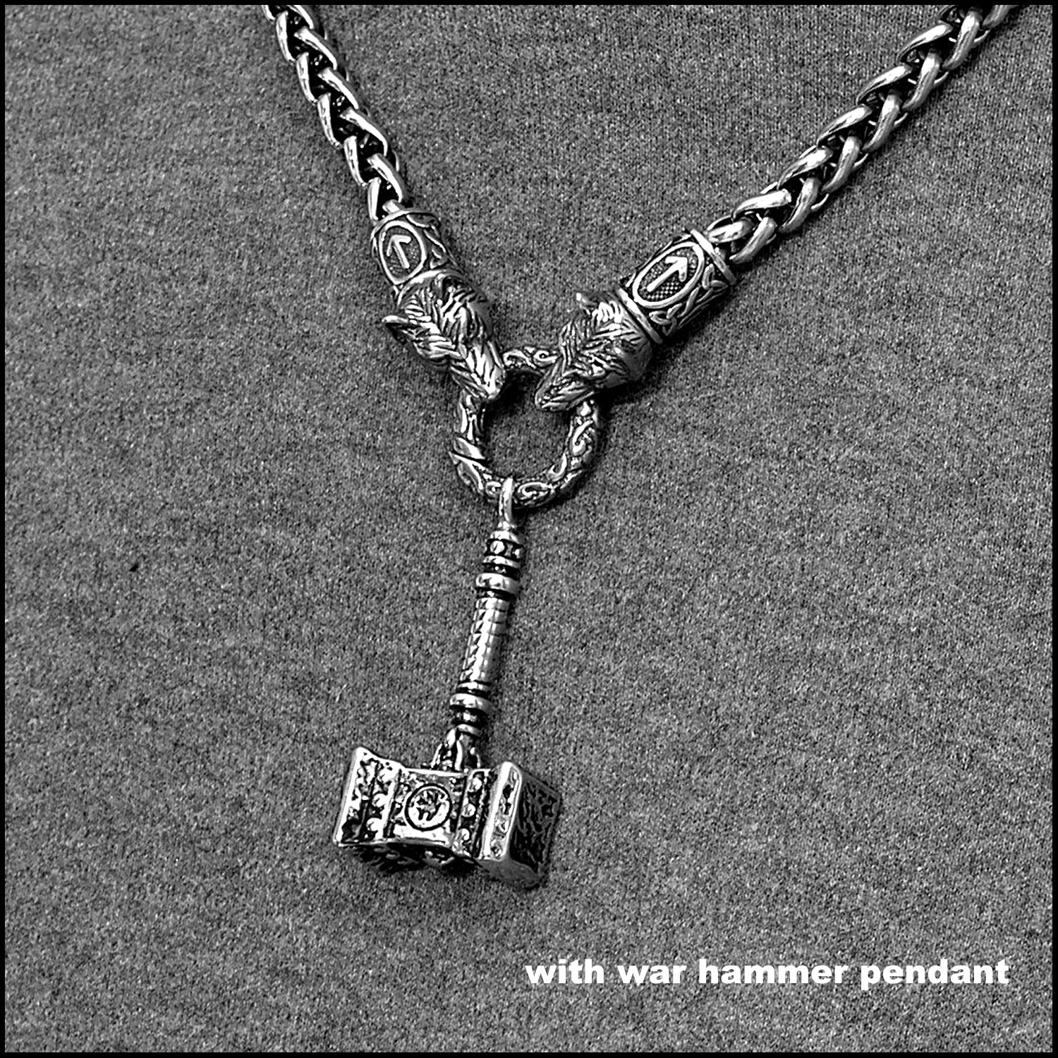 Wolf Warrior Necklace Featuring Antique Viking Braid Chain with Ancient Design War Hammer Pendant