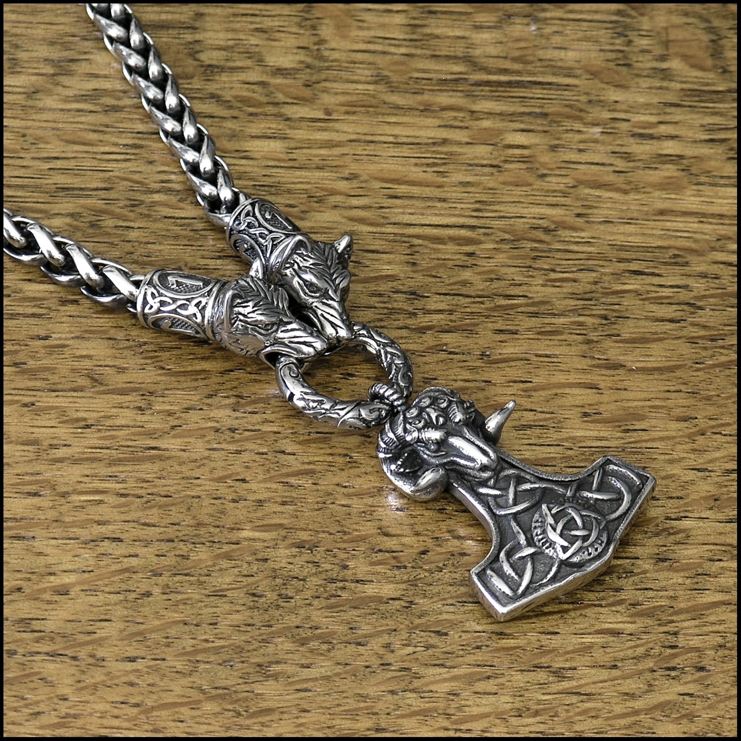 Wolf Warrior Necklace Featuring Antique Viking Braid Chain w/Beautifully Sculptured Ram Head Mjolnir