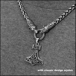 Wolf Warrior Necklace Featuring Antique Viking Braid Chain with Classic Design Viking Mjolnir
