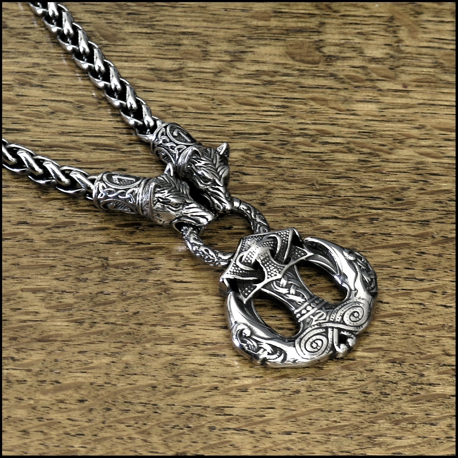 Wolf Warrior Necklace Featuring Antique Viking Braid Chain with Odin's Ravens Pendant