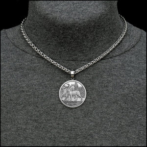 Alpha Wolves Coin in Stainless Steel Setting with Luxurious Thick Wheat Chain Necklace Option