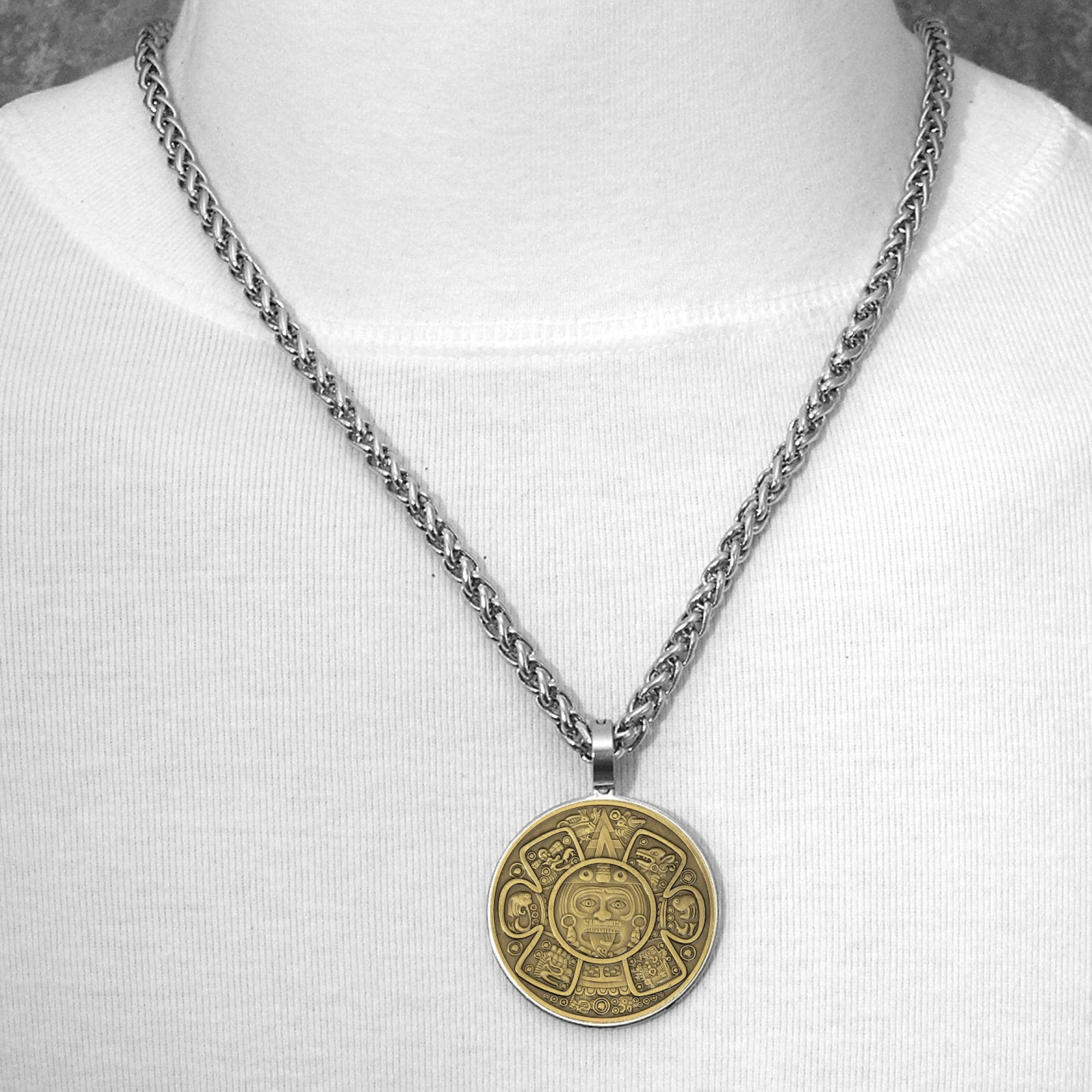 Legendary Aztec Calendar Sun Stone Central Design Antique Bronze Finish Coin In Stainless Steel Bezel Setting with Chain Necklace Option