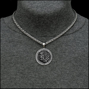 Aztec Eagle Warrior Coin w/Ancient Artifact Finish in Stainless Steel Setting with Necklace Option