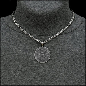 Aztec Calendar Stone Coin w/Ancient Artifact Finish in Stainless Steel Setting with Luxurious Thick Wheat Chain Necklace Option - Gift Boxed