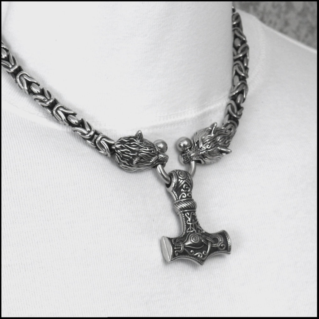 Superior Quality Snarling Head Wolf Head 9mm Borobudur Chain Necklace w/Large Sculptured Mjolnir