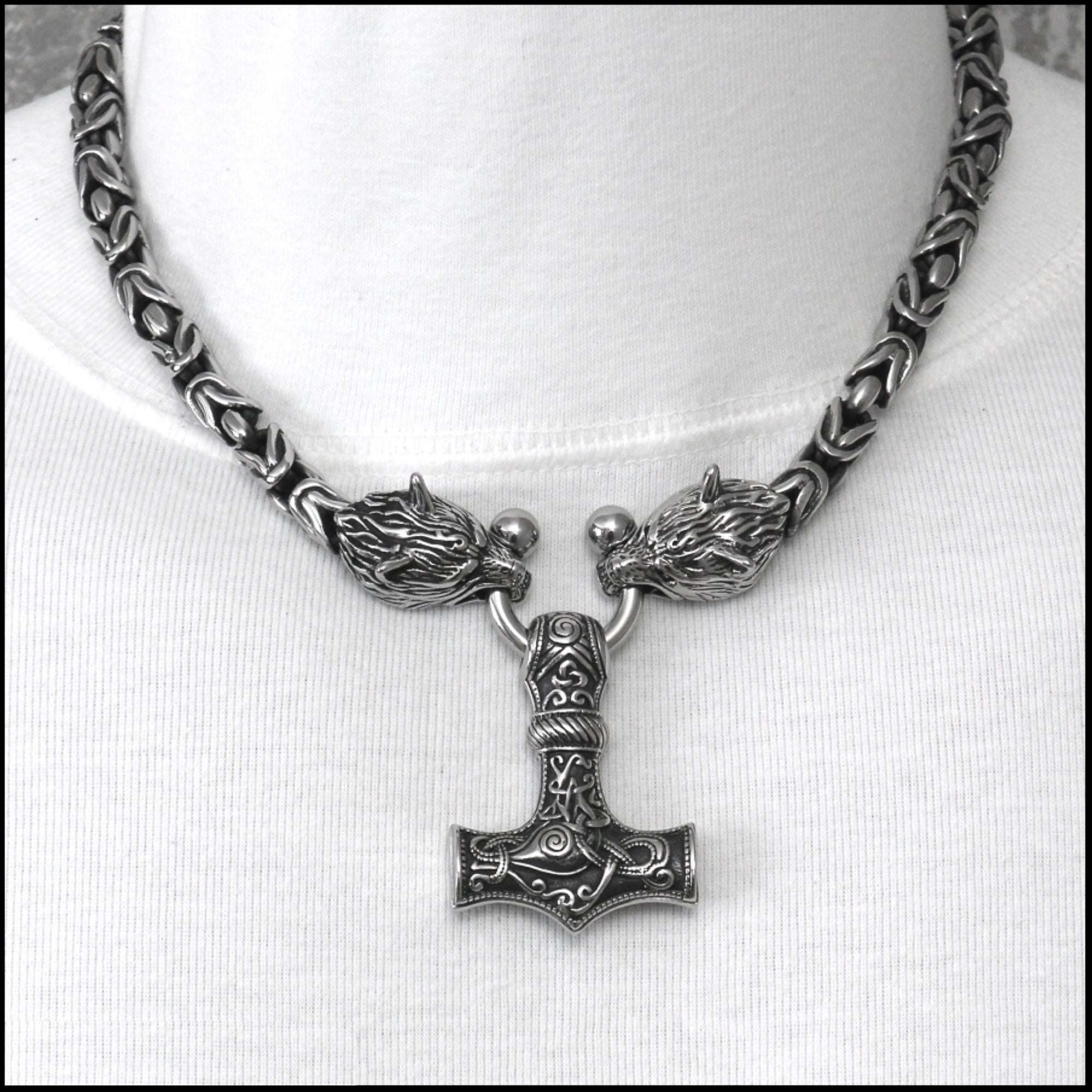 Viking King Choker Style Necklace with Large Mjolnir on Snarling Wolf Head Borobudur Design Chain Necklace with Torc Connector