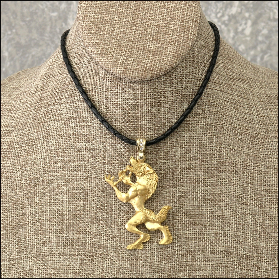 Large Standing Werewolf Pendant With Rhinestone Bail & Leather Necklace - Gift Boxed