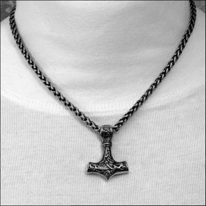 Beautifully Sculptured Thor's Hammer on Thick Antique Viking Braid Chain