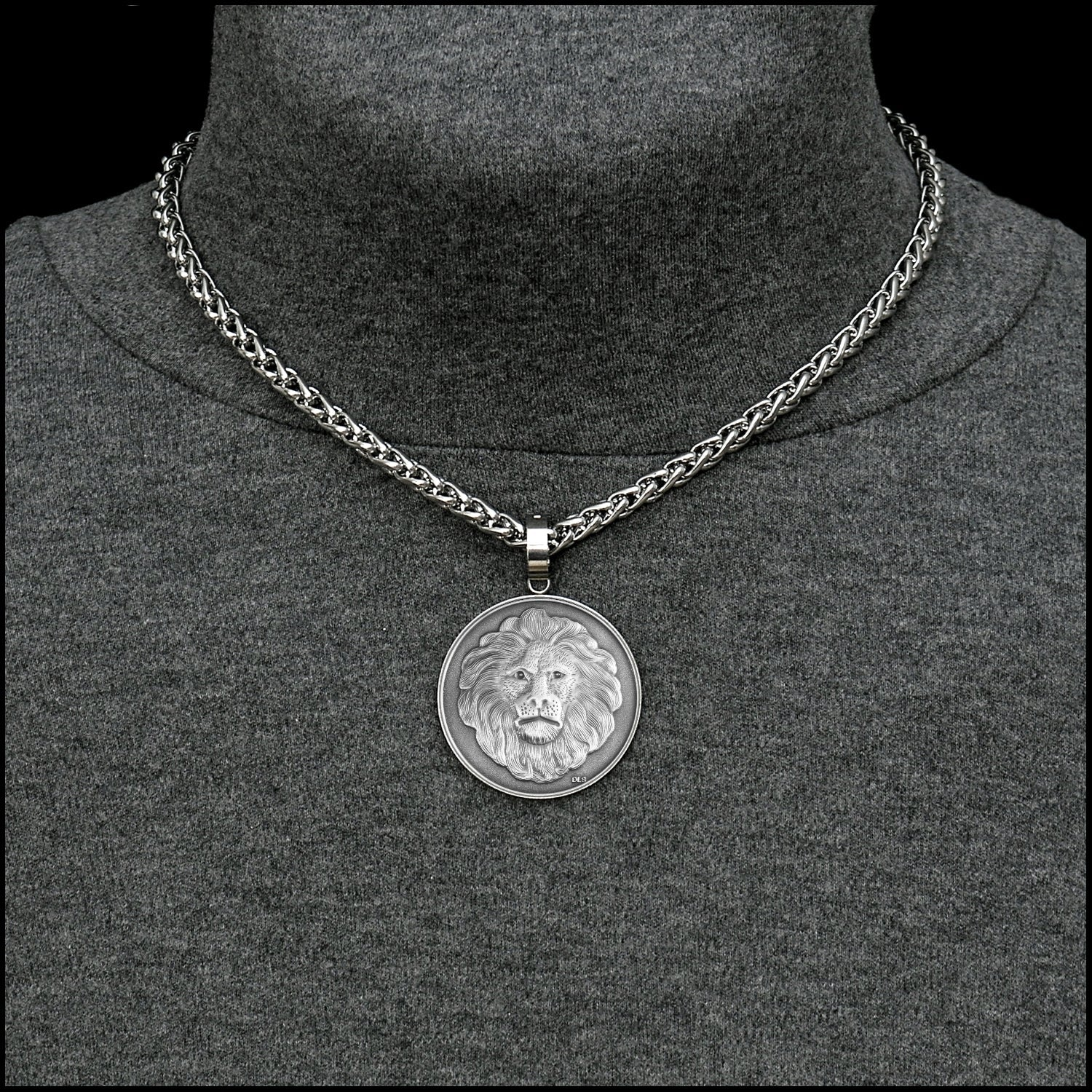 Lion Spirit Coin w/Antique Finish in Stainless Steel Setting on Thick Luxurious Polished Wheat Chain