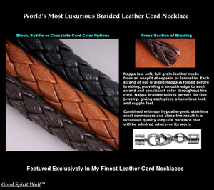 Wolf Warrior Necklace Featuring Luxurious Nappa Leather Braided Cord w/Double Snarling Wolf Mjolnir