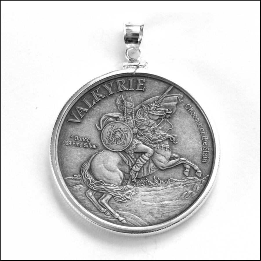 Limited Edition Odin the All-Father Silver Coin on Wolf Heads Necklace w/Matte Black Onyx Beads