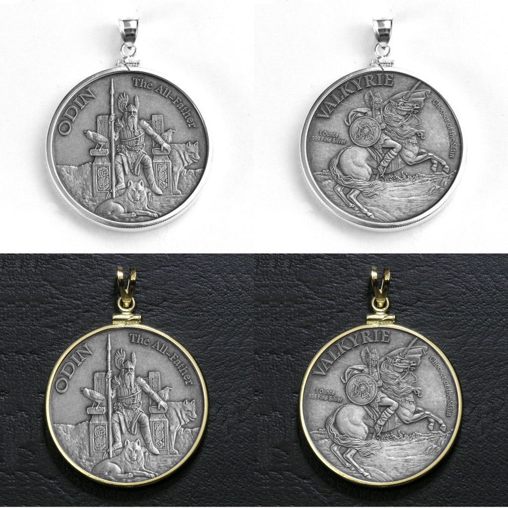 Limited Edition Odin the All-Father Mythology Silver Coin w/Sterling Silver or Gold-Filled Bezel