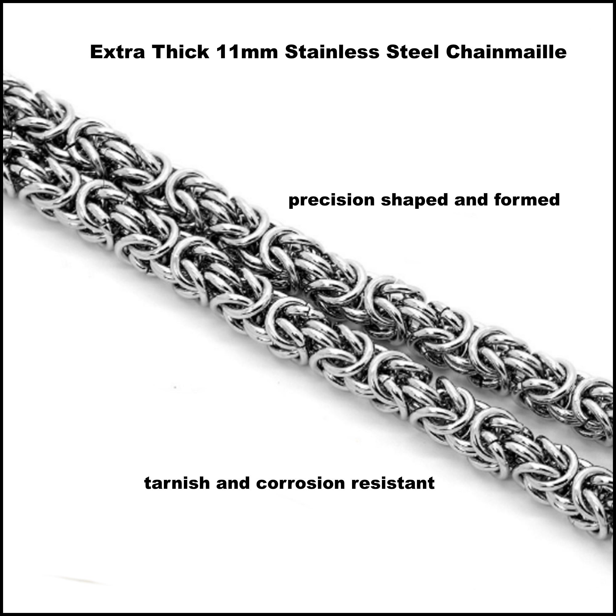 Techno Warrior Extra Thick 11mm Chainmaille Necklace with Multipurpose Connector Clasp