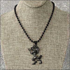 Large Standing Werewolf Pendant with Black Ball Chain Necklace - 3 Finish Options - Gift Boxed