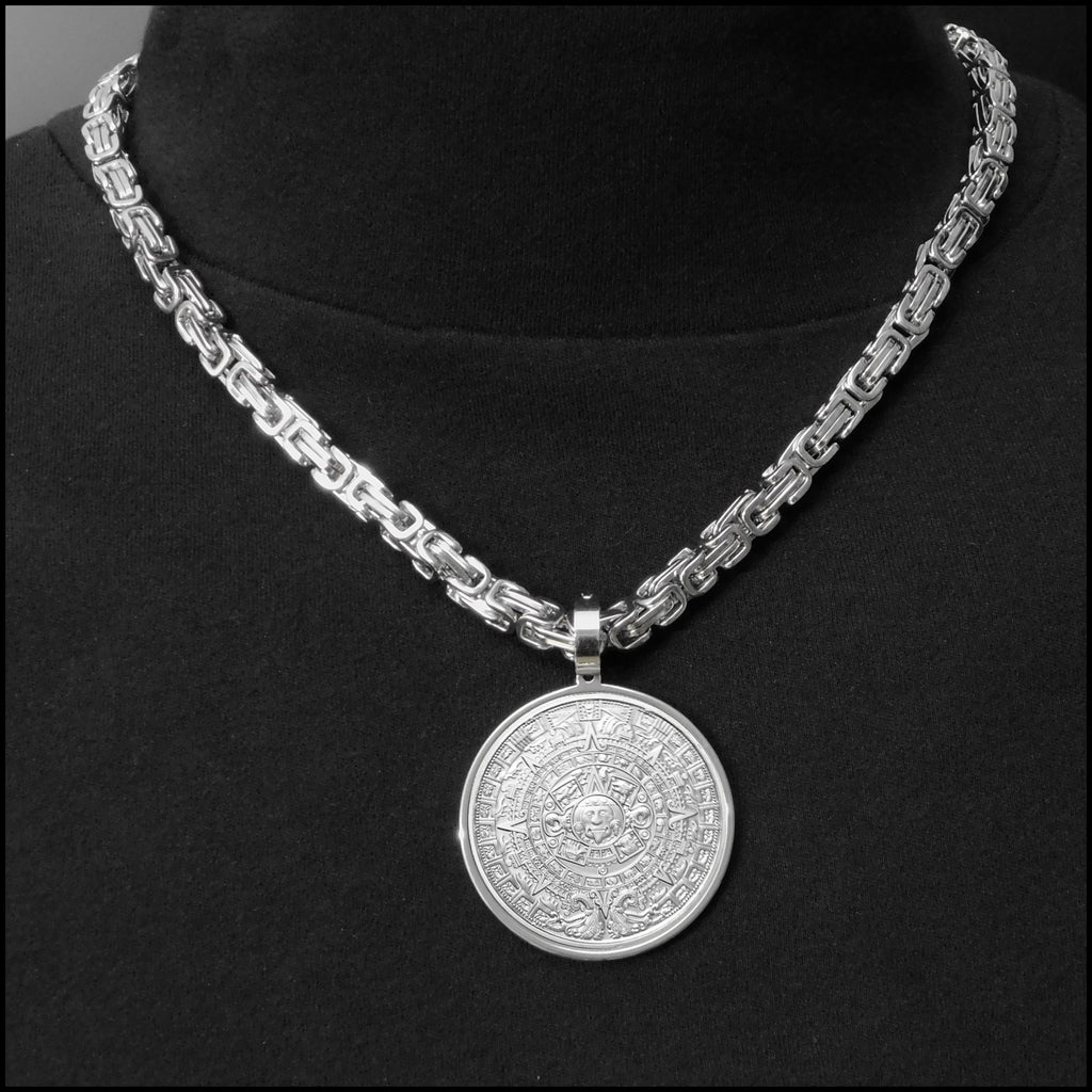 Legendary Aztec Calendar Stone Proof Finish Coin In Stainless Steel Setting w/Necklace Option