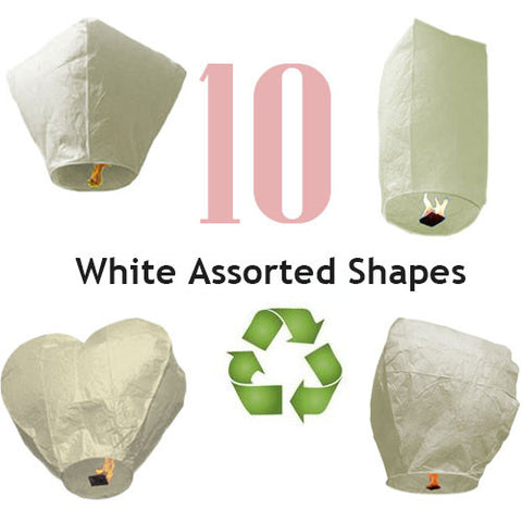 10 ECO White Assorted Shapes Sky Lanterns.