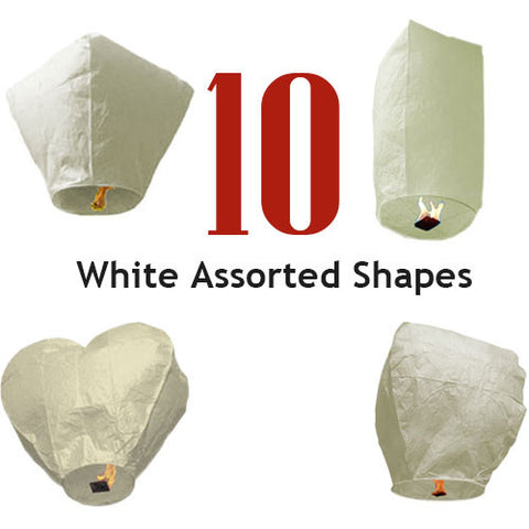 10 White Assorted Shapes Sky Lanterns.