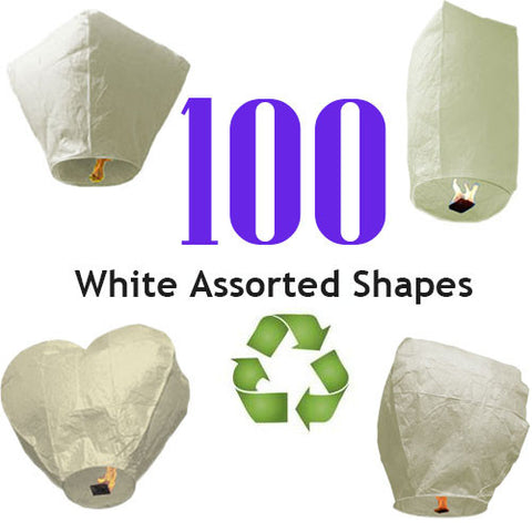 100 ECO White Assorted Shapes Sky Lanterns.