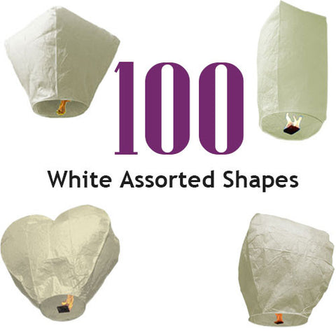 100 White Assorted Shapes Sky Lanterns.