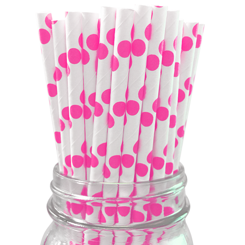 Hot Pink Polka Dot 25pc Paper Straws