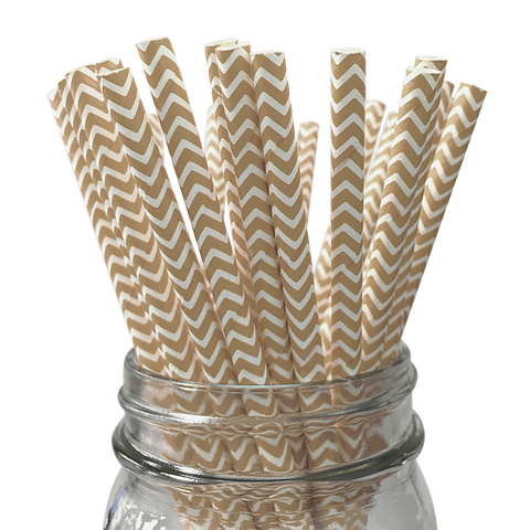Tan Chevron Striped 25pc Paper Straws.