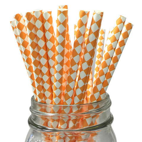 Orange Harlequin Diamond 25pc Paper Straws
