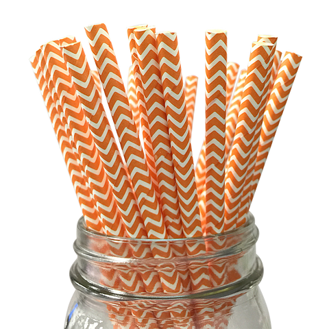 Orange Chevron Striped 25pc Paper Straws