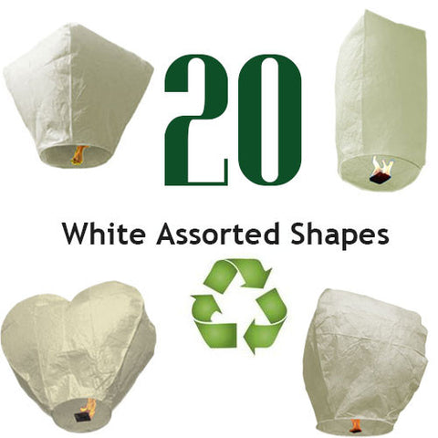 20 Sky Lanterns - Eco Friendly and Biodegradable Sky Lanterns