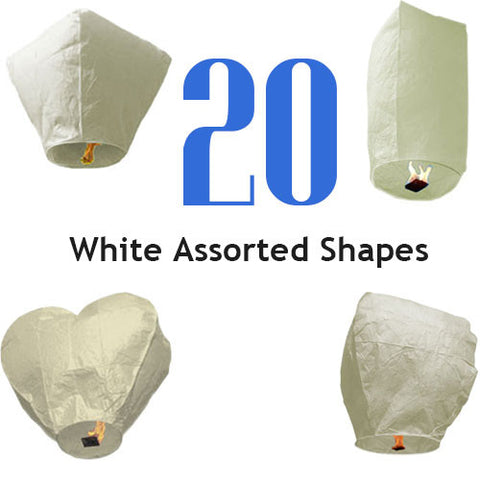 20 White Assorted Shapes Sky Lanterns.