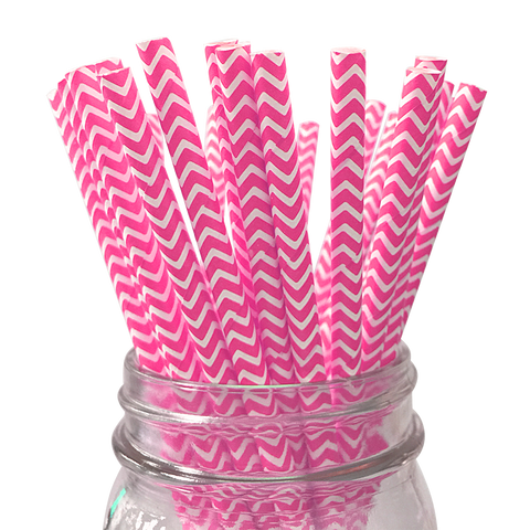 Hot Pink Chevron Striped 25pc Paper Straws